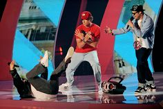 Jack Black hits the floor alongside Will Ferrell and Seth Rogen at the 2011 MTV Video Music Awards in Los Angeles. | MTV Photo Gallery
