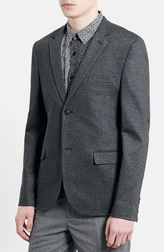 $109, Charcoal Wool Blazer: Topman Slim Fit Charcoal Jersey Blazer. Sold by Nordstrom. Click for more info: https://lookastic.com/men/shop_items/188680/redirect