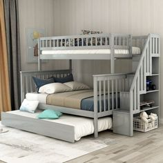 Buy Harper & Bright Designs Twin Over Full Stairway Bunk Bed Storage Trundle Bed Storages, No Box Spring Required, Grey online - Totoppremium Full Bed With Trundle, Full Bed Frame, Full Bunk Beds, Kids Bunk Beds, Bunk Beds For Toddlers, Safe Bunk Beds, Double Bunk Beds, Full Size Beds, Boys Bedroom Ideas With Bunk Beds