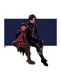 Dick is like a second father to Dami Damian Wayne, Marvel Heroes, Marvel Dc, Marvel Comics, Nightwing, Batgirl, Dick Grayson Batman, Robin And Raven, Bat Boys