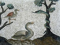 Roman Mosaic. Snake and Birds. National Museum of Rome. Rome, Italy.