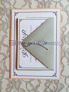Peach and Grey Wedding Invitation Set with Grey by CZinvitations