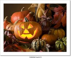 """Halloween pumpkin with autumn leaves"" - Art Print from FreeArt.com"