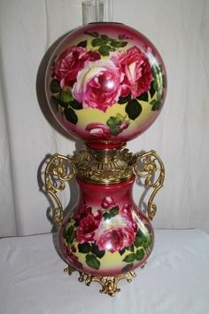 VERY RARE Miller Gone with the Wind Banquet Oil Lamp ~RARE 13' SHADE~Masterpiece Breathtaking BEAUTY WITH HAND PAINTED ROSES~ Outstanding Fancy Ornate Handled Font Spill Ring and Base