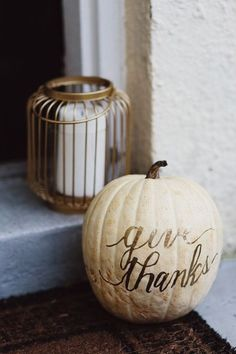 Give thanks pumpkin on the porch