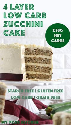 This amazing low carb zucchini cake has four delicious moist and crumbly layers covered in sugar free cream cheese frosting! This amazing low carb zucchini cake has four delicious moist and crumbly layers covered in sugar free cream cheese frosting! Healthy Gluten Free Recipes, Low Carb Recipes, Snack Recipes, Dessert Recipes, Healthy Options, Kitchen Recipes, Keto Snacks, Diabetic Recipes, Healthy Zucchini