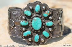 Vintage 1930 Navajo Hand Wrought Sterling Silver & Turquoise Thunderbird Concho Cuff Bracelet Fred Harvey Era