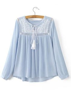To find out about the Blue Tie Neck Crochet Dipped Hem Blouse at SHEIN, part of our latest Blouses ready to shop online today! Kurta Designs, Blouse Designs, Stylish Dresses For Girls, Casual Dresses, Casual Outfits, Frock Design, Look Fashion, Hijab Fashion, Fashion Dresses