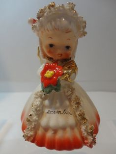 Vintage 1956 Napco 'DECEMBER' Angel Christmas BELL of the Month figurine