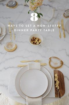 8 Ways to Set a Non-Stuffy Dinner Party Table via @PureWow