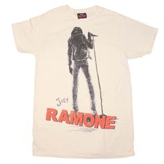 Joey Ramone RAMONES Beige off white mens T-Shirt FREE delivery! 100% Cotton TEE #ManorMusicStorecom…
