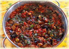 """Eggplant """"Caponata Siciliana"""" : typical Sicilian recipe... also great stuffing for  stuffed vegetarian portabella mushrooms"""