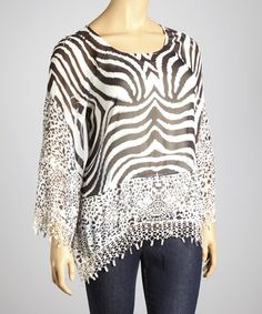 Take a look at this Black & White Zebra Sheer Poncho - Plus by Sienna Rose on #zulily today!