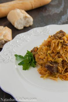 """Braised Cabbage With Beef ~ """"Braised Cabbage is fairly cheap and easy. That's probably why it's a very typical meal for Ukrainian and Russian people. Oh and it's fairly tasty too! We grew up on this stuff. This is my husband's cousin's recipe. Thank you Angelina for sharing your culinary expertise!"""""""