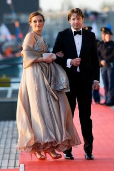 Dutch Prince Floris and Princess Aimee arrive at the Muziekgebouw Aan't IJ after the King's Sail in Amsterdam