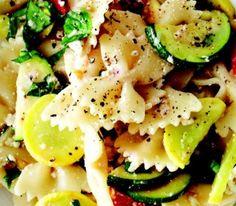 zucchini yellow squash pasta salad!! My favorite things squash, zucchini and pasta salad!! I want!!