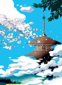 雲に浮かぶ春の寺 (c)KAWANO Ryuji