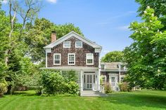 A shingle-clad home built in 1850 is up for sale on Long Island's East End Hamptons House, The Hamptons, Clad Home, Traditional Style Homes, Old World Charm, Architectural Digest, Luxury Homes, Beautiful Homes, Home