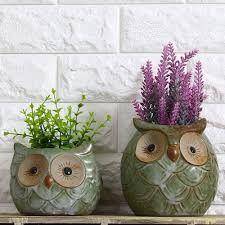 Owl ceramic planters
