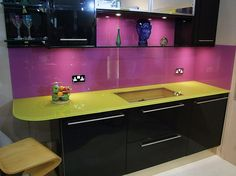Backsplash Ideas For Kitchen To Protect The Kitchen Wall: Purple Kitchen Glass Backsplash Yellow Countertops ~ Kitchen Inspiration