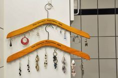 DIY Jewelry Organizers Of Re-Purposed Wooden Clothes Hangers