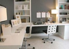 small home office designs for 2 with built in furniture in corners. This layout works