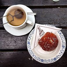 A Swedish afternoon tea, spiced fruit tea and an apple and cinnamon doughnut. Fruit Tea, Foodie Travel, Afternoon Tea, Doughnut, Sweden, Panna Cotta, Cinnamon, Travelling, Spices