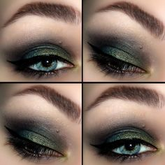 This gorgeous night out eye makeup uses black and grey eye shadow, accentuated with shades of blue and dark green. See the products used here.