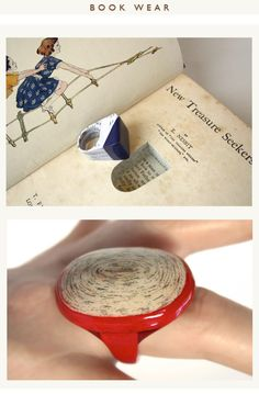 One of a kind rings made from book pages. Once created, the ring is inserted into the book!  http://littlefly.co.uk/littlefly_wordpress/?page_id=5