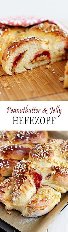 Braided Yeast Bun Eastern recipe filled with peanut butter and jelly topped with Sugar ~ Hefezopf mit Erdnussbutter und Marmelade und Hagelzucker Ostern Rezept