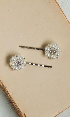 2 Rhinestone & Pearl Bobby Pin Set Wedding