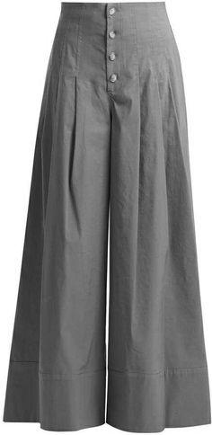 Sea Bernadette High Rise Wide Leg Trousers - Womens - Khaki Button trousers outfit ideas for women. Kurti Neck Designs, Blouse Designs, Salwar Designs, Wide Leg Trousers, Trousers Women, Palazzo Trousers, Wide Legged Pants, Fashion Pants, Fashion Outfits