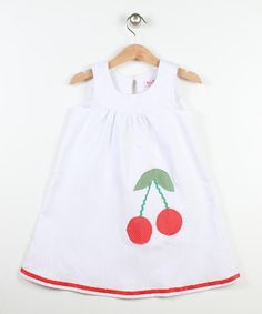 White & Red Cherry Yoke Dress - Toddler & Girls $17.99 by angelique