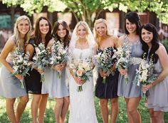 mix and match gray bridesmaid dresses