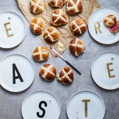 Pre-Easter hot cross buns with butter and jam. What is your traditional Easter dish? #typehypestories by lumadeline