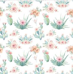 Grace and Cruz Exclusive Fabrics Design Your Own -Succulent Cacti Floral - Watercolor Nursery Bedding and Decor