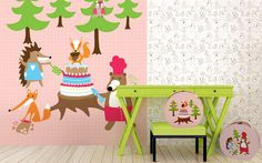 Tapete Party in the woods - Designer Tapeten DecorPlay Love Design, Toddler Bed, Chair, Wallpaper, Woods, Furniture, Home Decor, Cardboard Paper, Wallpapers