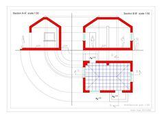 خطة ومقاطع طولية و عرضية plan, Longitudinal and cross sections