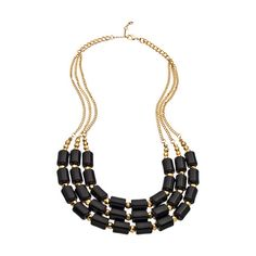 Blu Bijoux Gold and Black Beaded Bib Necklace ($35) ❤ liked on Polyvore