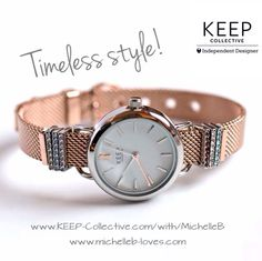 Rose Gold Mesh Keeper /bracelet /  Silver TimeKey and 6 pave birthstone Keys.