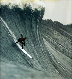 """Big wave surfing is a discipline within surfing where experienced surfers paddle into or are towed onto waves which are at least 20 feet m) high, on browse boards referred to as """"guns"""" or towboards. Sizes of the board had to effectively surf these. Big Waves, Ocean Waves, Surf Mar, Wind Surf, Big Wave Surfing, Surfing Photos, Learn To Surf, Windsurfing, Surfs Up"""