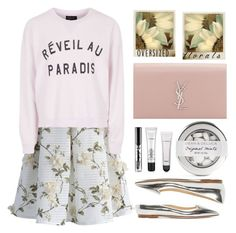 """Spring - Réveil au Paradis"" by karineminzonwilson ❤ liked on Polyvore featuring Polaroid, Chicwish, Yves Saint Laurent, Topshop, Jimmy Choo, Spring, floralprint, pastels, MINISKIRT and oversizedflorals"