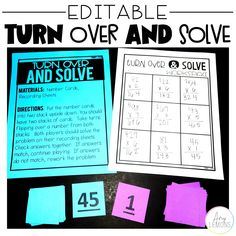 Students turn over two numbers and solve the problem in this fun Math game, Turn over and Solve!