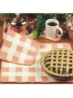Gingham Table Set free crochet potholder