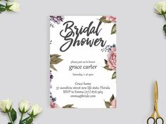 rustic bridal shower invitation, wedding invite, rustic flower bridal shower #BS202 by BRIDETALKpaperie on Etsy