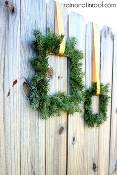 DIY paint stick evergreen wreaths #christmas
