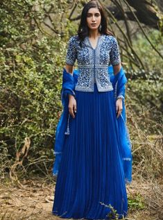 Blouse And Skirt, Blue Blouse, Peplum Top Outfits, Sweet Wedding Dresses, Angrakha Style, Indian Gowns Dresses, Desi Clothes, Clothing Websites, Kaftan