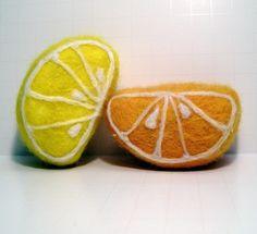Felted Organic Soap Orange and Lemon Wedges Organic by Engelfelt