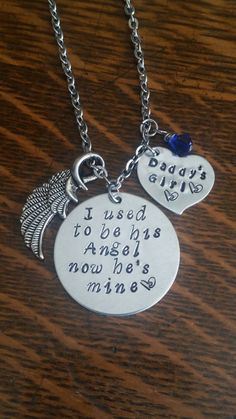 Bereavement, memorial, loss of your daddy, necklace. This is a way to help you remember your daddys little girl, always and forever. Made