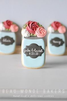 wedding mason jar cookies                                                                                                                                                     More